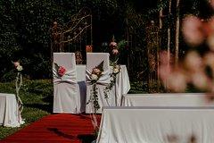 Roter Teppich vor einem romantischer Torbogen und dekorierten Stühlen