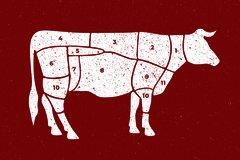 Schaukarte mit den besten Zuschnitten eines Rinds