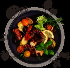 Antipastiteller mit gegrilltem Oktopus auf Salat
