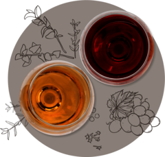 Weingläser von oben illustrativ dekoriert